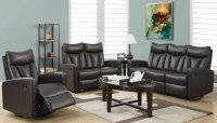 87BR-3 Brown Bonded Leather Reclining Living Room Set from ...