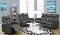 87GY-3 Charcoal Gray Bonded Leather Reclining Living Room ...