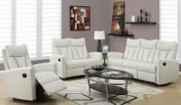 87IV-3 Ivory Bonded Leather Reclining Living Room Set ...