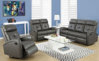 88GY-3 Charcoal Gray Bonded Leather Reclining Living Room ...