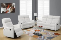 88WH-3 White Bonded Leather Reclining Living Room Set ...