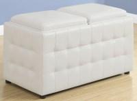 White Leather Storage Trays Ottoman, 8925, Monarch