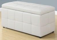 White Leather Storage Ottoman, 8985, Monarch