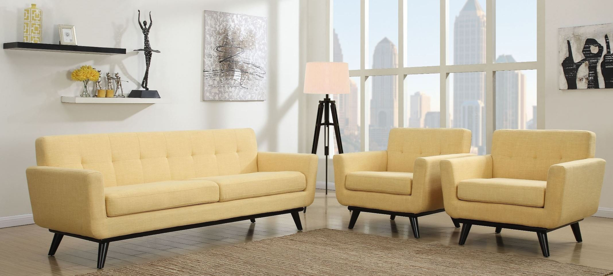 Yellow Living Room Chair James Mustard Yellow Linen Living Room Set From Tov A55