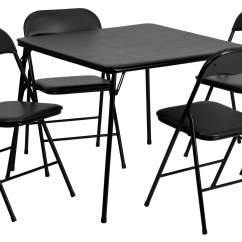 Black Folding Table And Chairs Set Captain Suv 5 Piece Card Chair From