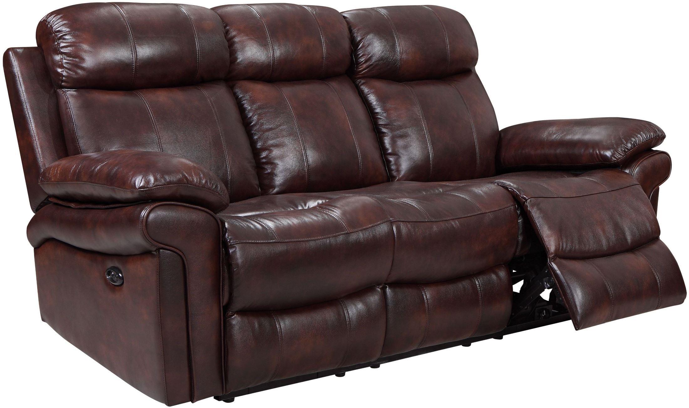 reclining sofa leather brown gray nailhead set shae joplin power from