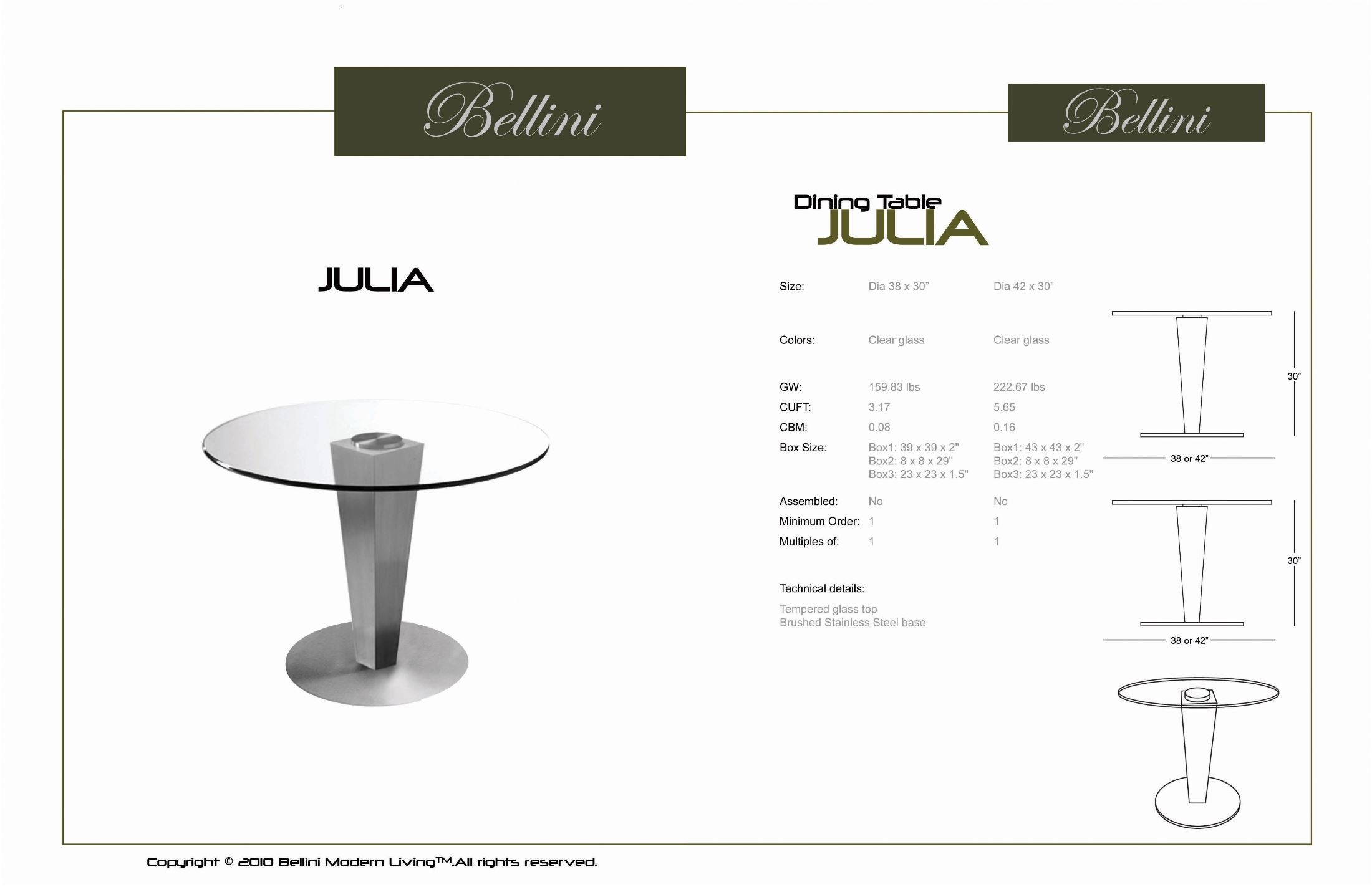 Julia 42 Glass Round Dining Table From Bellini Modern