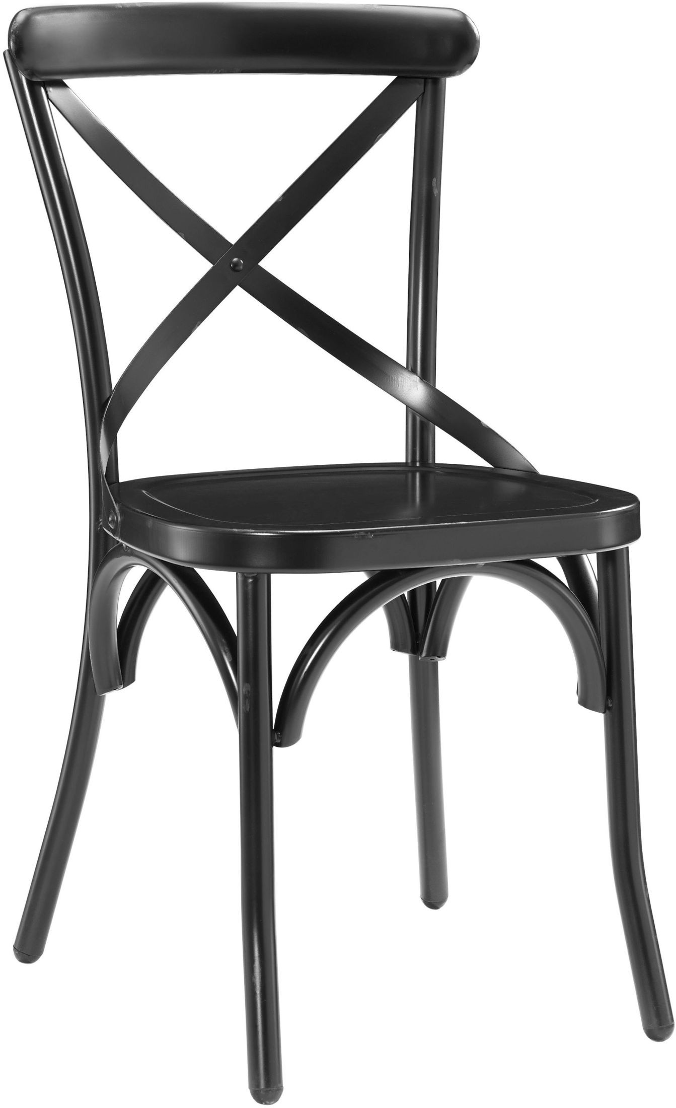 Distressed Antique Black Metal Dining Chair Set of 2 from