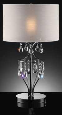 Ella Black Chrome Hanging Crystal Table Lamp from