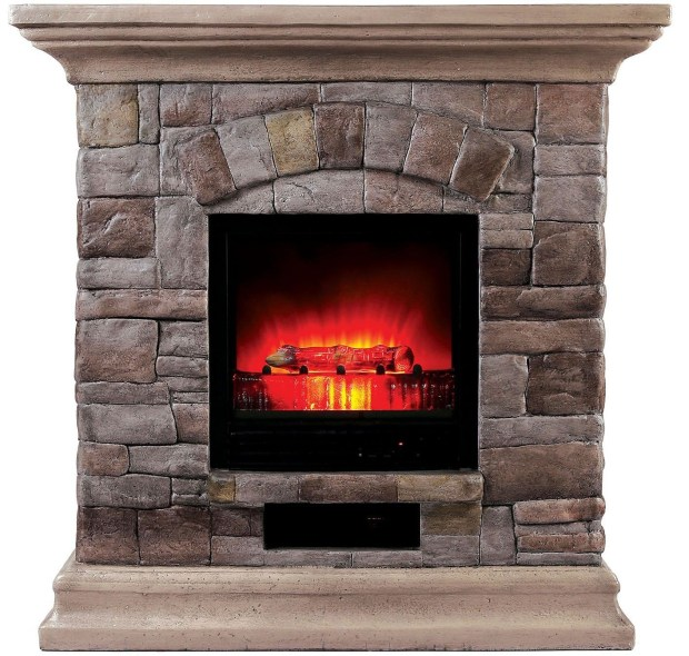 Portable Large Faux Stone Fireplace
