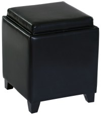 Rainbow Black Bonded Leather Storage Ottoman With Tray ...