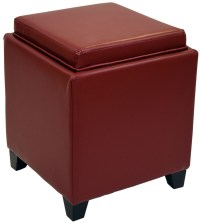 Rainbow Red Bonded Leather Storage Ottoman With Tray