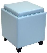 Rainbow Sky Blue Bonded Leather Storage Ottoman With Tray ...