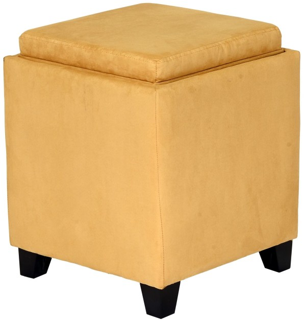 Rainbow Yellow Microfiber Storage Ottoman Armen Living Coleman Furniture