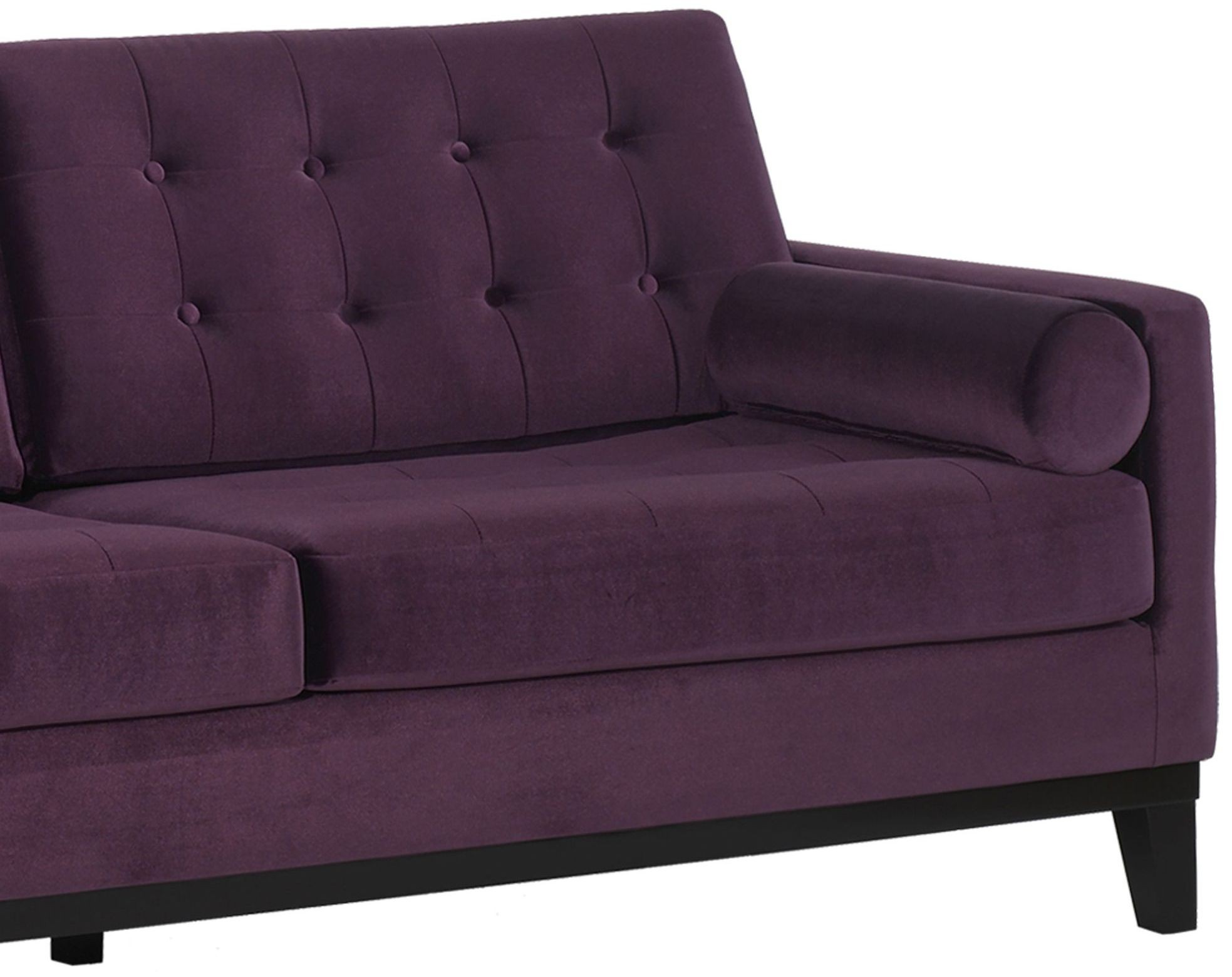 purple velvet upholstered sofa queen size pull out bed centennial lc7253pu armen living
