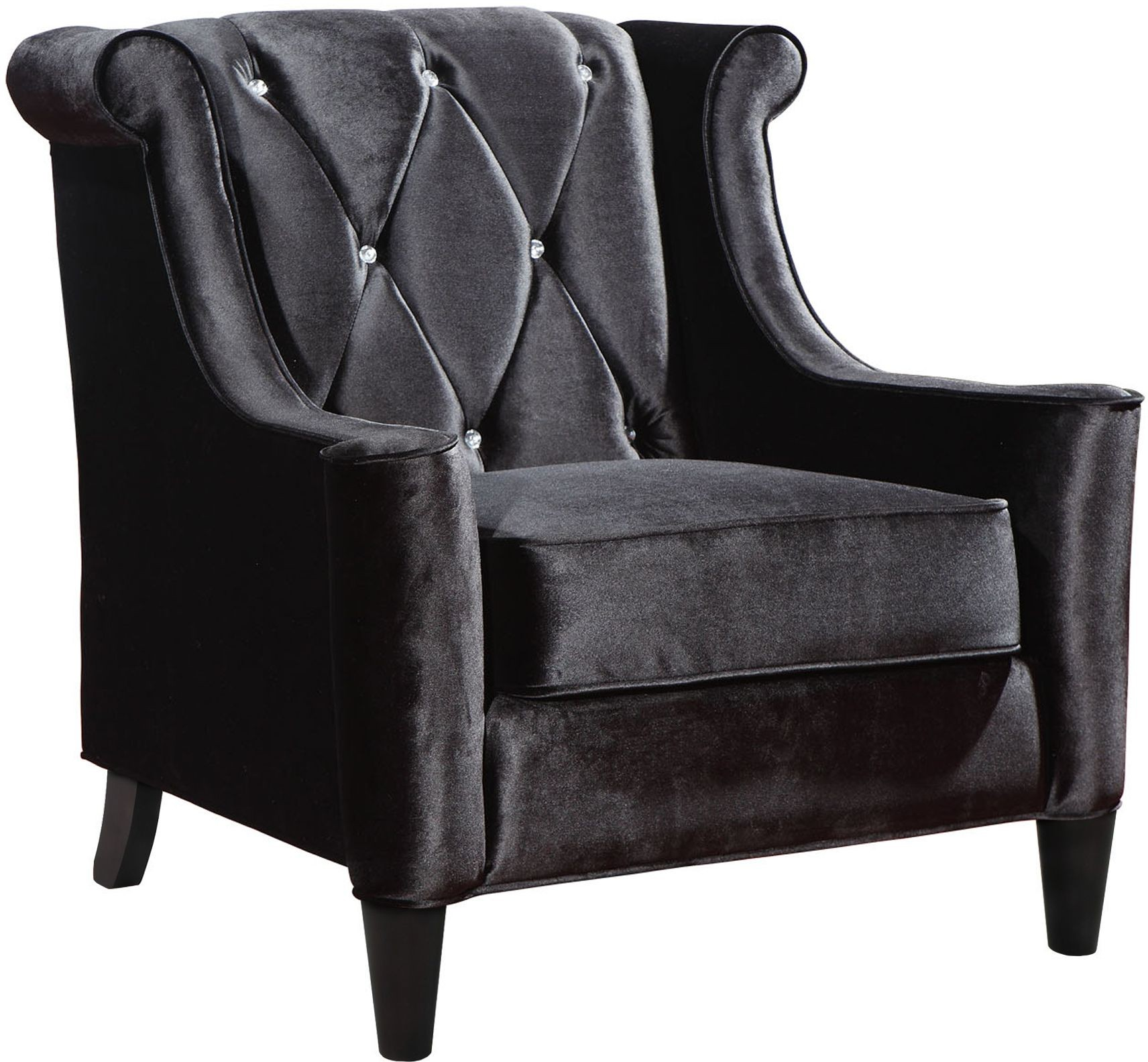 Black Velvet Chair Barrister Black Velvet With Crystal Buttons Chair