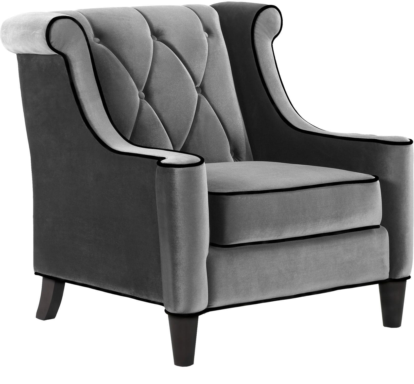 Barrister Gray Velvet Chair from Armen Living  Coleman