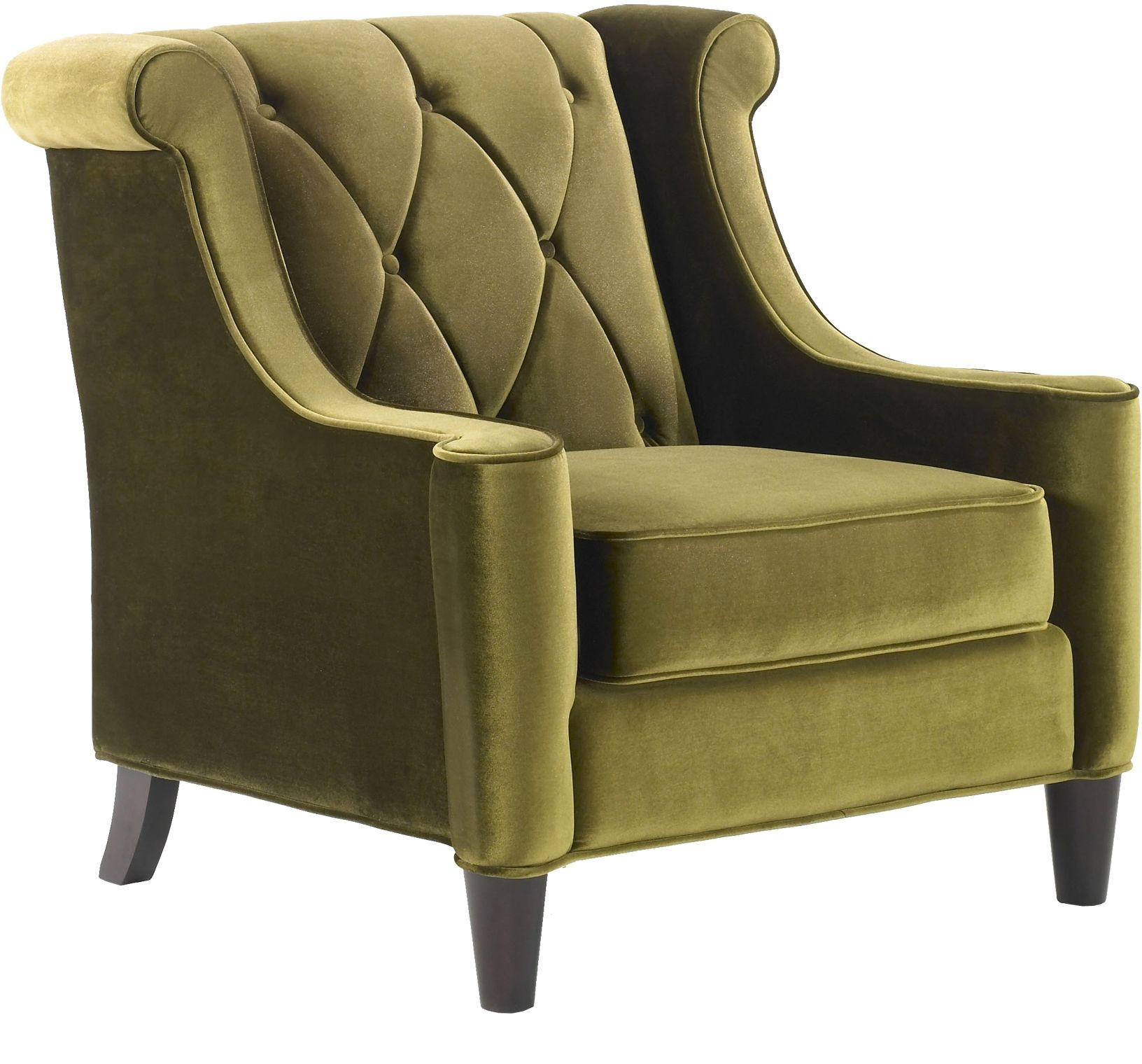 green velvet tufted chair steel furniture barrister lc8441green armen living