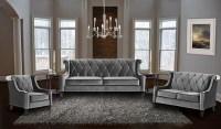 Barrister Gray Velvet Living Room Set, LC8443GRAY, Armen ...