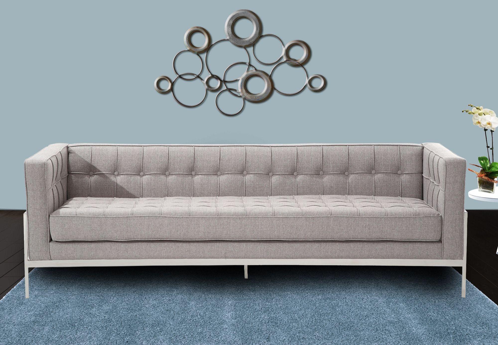 grey tweed sectional sofa sleeper mattress protector andre gray lcan3gr armen living