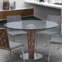 "Crystal 48"" Clear Tempered Glass Top Round Dining Table ..."