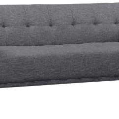 Gray Linen Tufted Sofa Modern Style Floor Chair Hudson Mid Century Dark Button From
