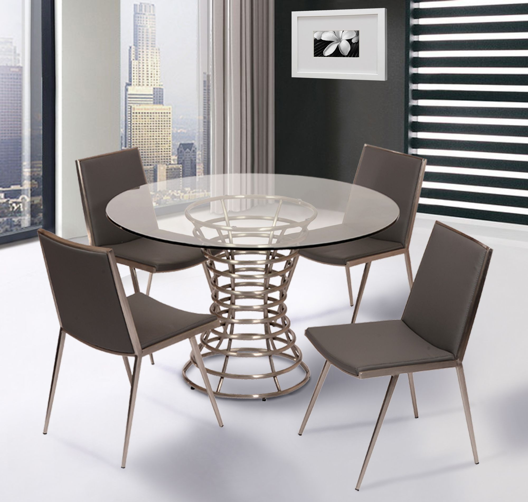 stainless steel chair hsn code danish modern dining ibiza brushed room set from armen