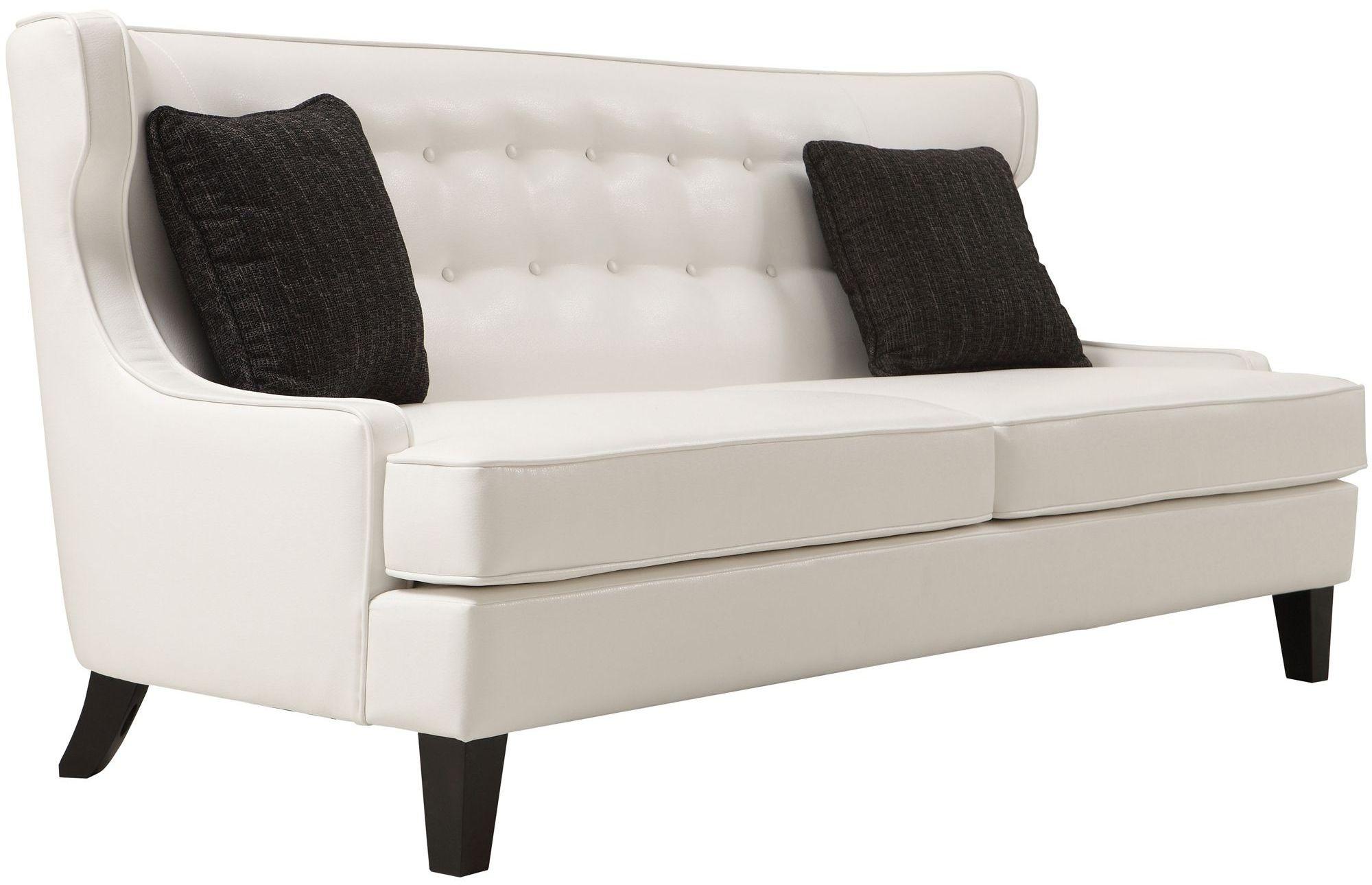 white bonded leather sectional sofa set with light blue ticking slipcover skyline from armen living