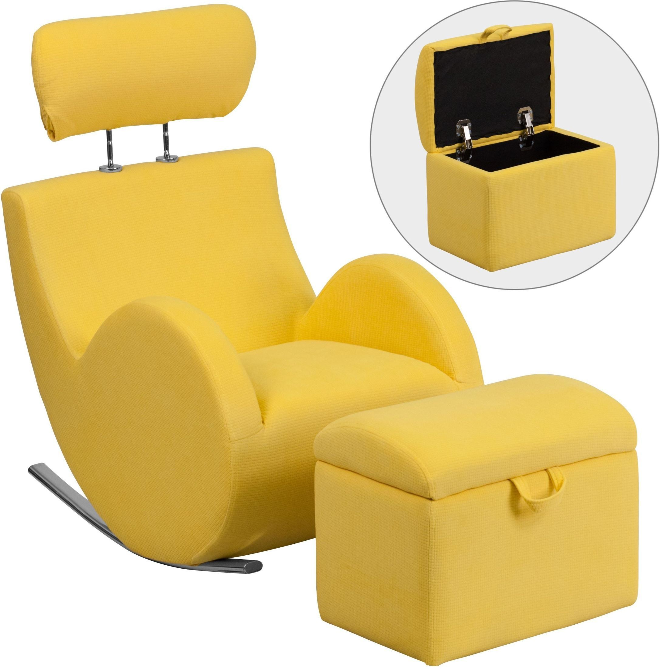 yellow rocking chair ergonomic desk and computer setup hercules fabric with storage ottoman