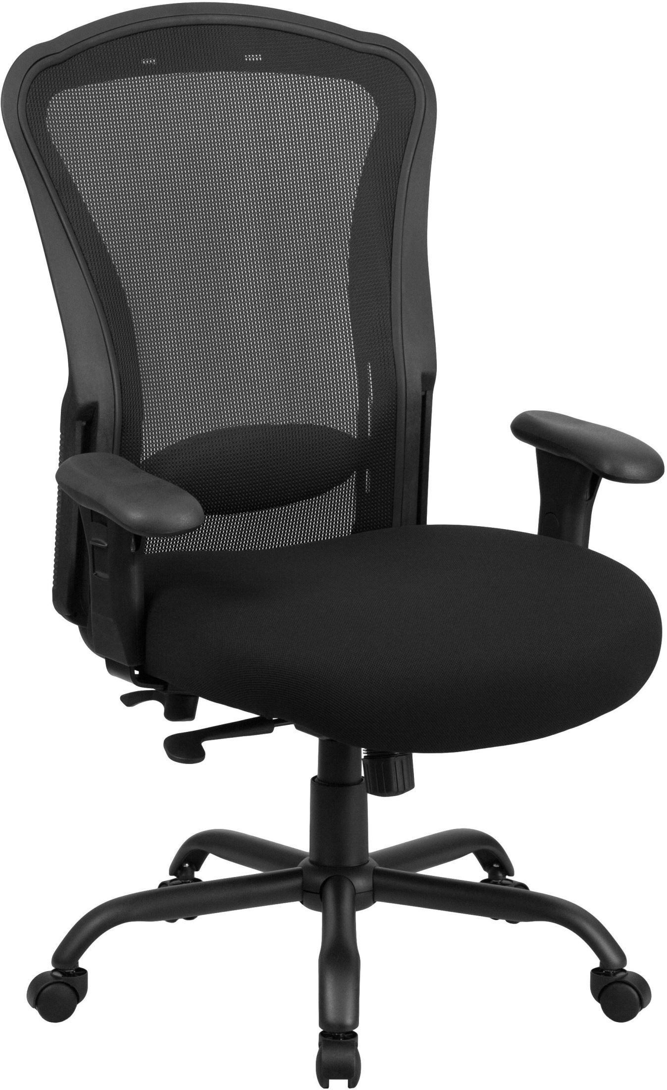 Black Swivel Chair Hercules 24 7 Big And Tall Black Multi Functional Swivel