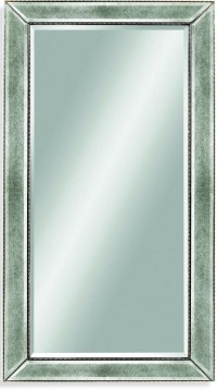 Beaded Silver Leaf Wood Frame Wall Mirror, M1946BEC
