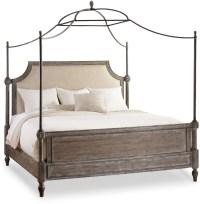 True Vintage Beige Fabric Queen Upholstered Canopy Bed ...