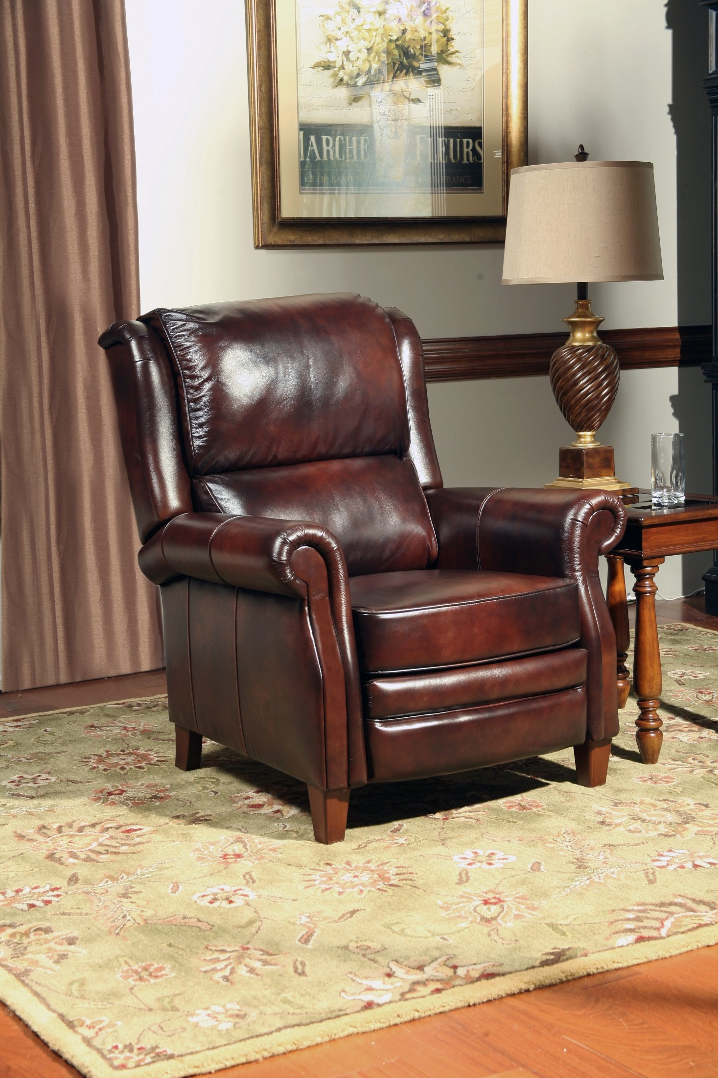 traditional leather wingback chair gold hand camelot recliner from parker living mcam 812 ea