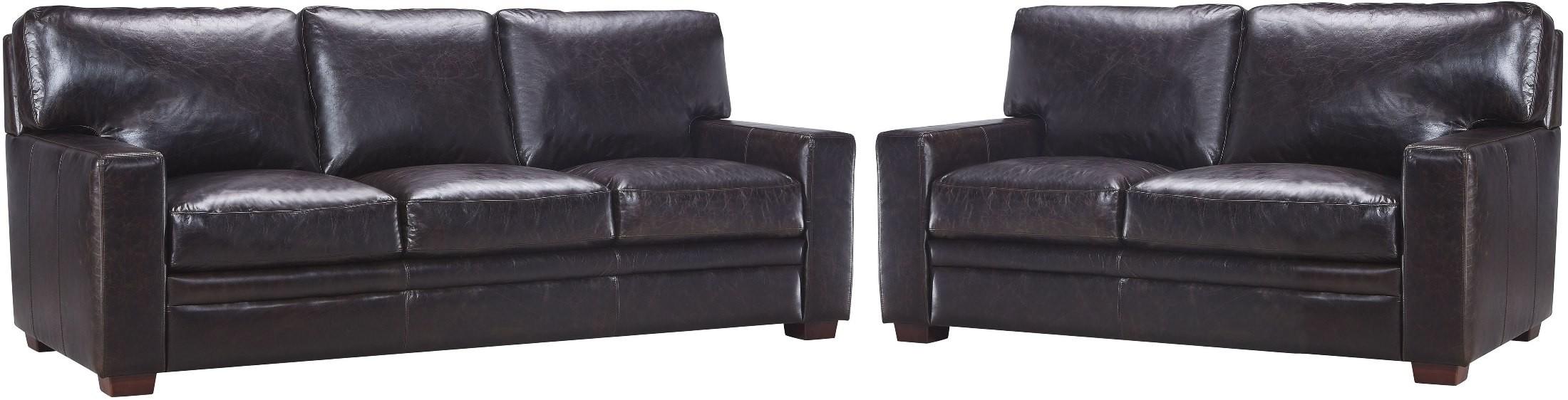leather italia sofa furniture catnapper bonded georgetowne norman dark brown living room set from