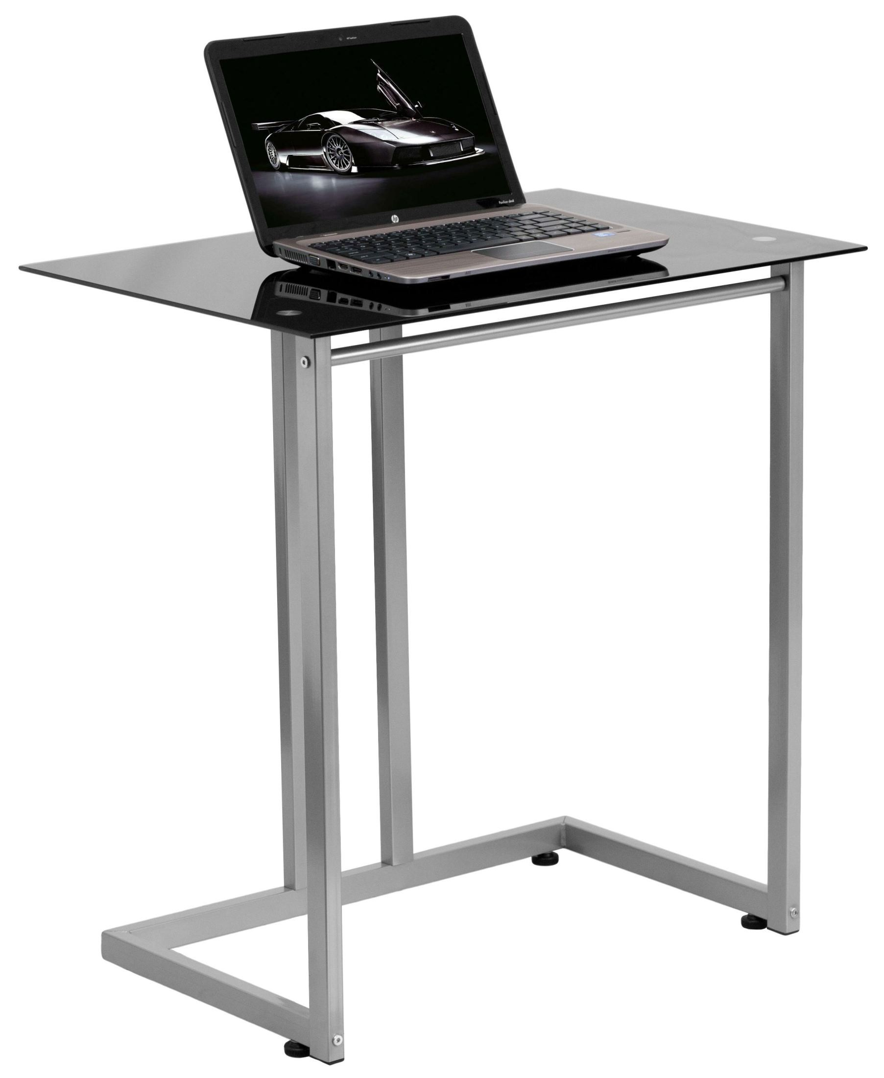 Black Tempered Glass Top Computer Desk from Renegade
