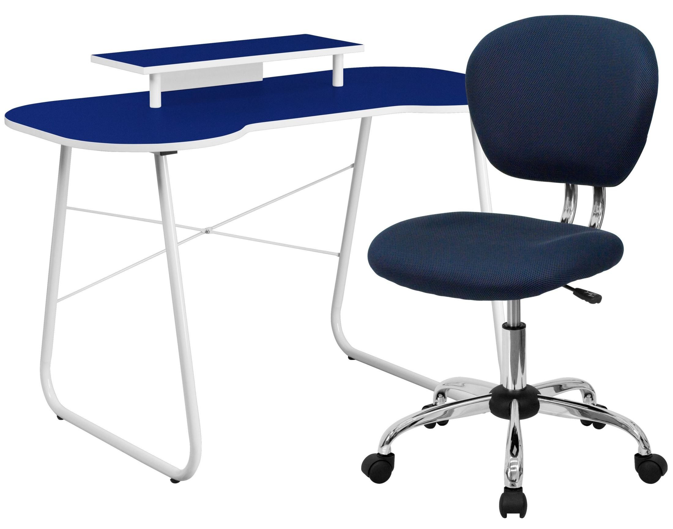 chair computer stand cow hide navy desk with monitor and mesh from