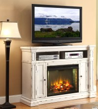New Castle Rustic White Fireplace Media Center from ...