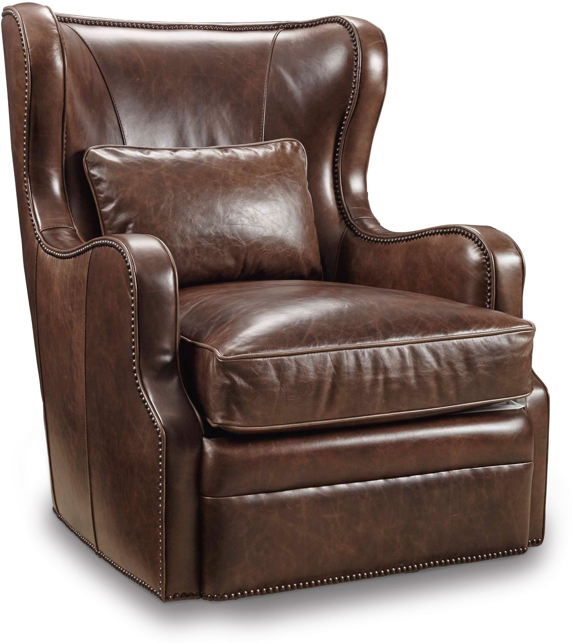 Wellington Brown Leather Swivel Club Chair from Hooker