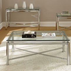 Natal Chrome And Glass Sofa Table Scs Leather Insurance Nova Top Rectangular End From Steve Silver