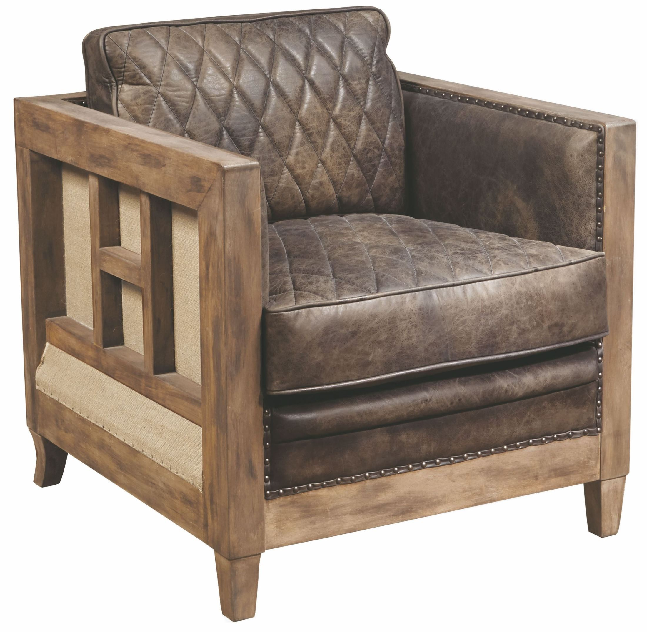 Brown Accent Chairs Slater Brown Leather And Wood Accent Chair P006200 Pulaski