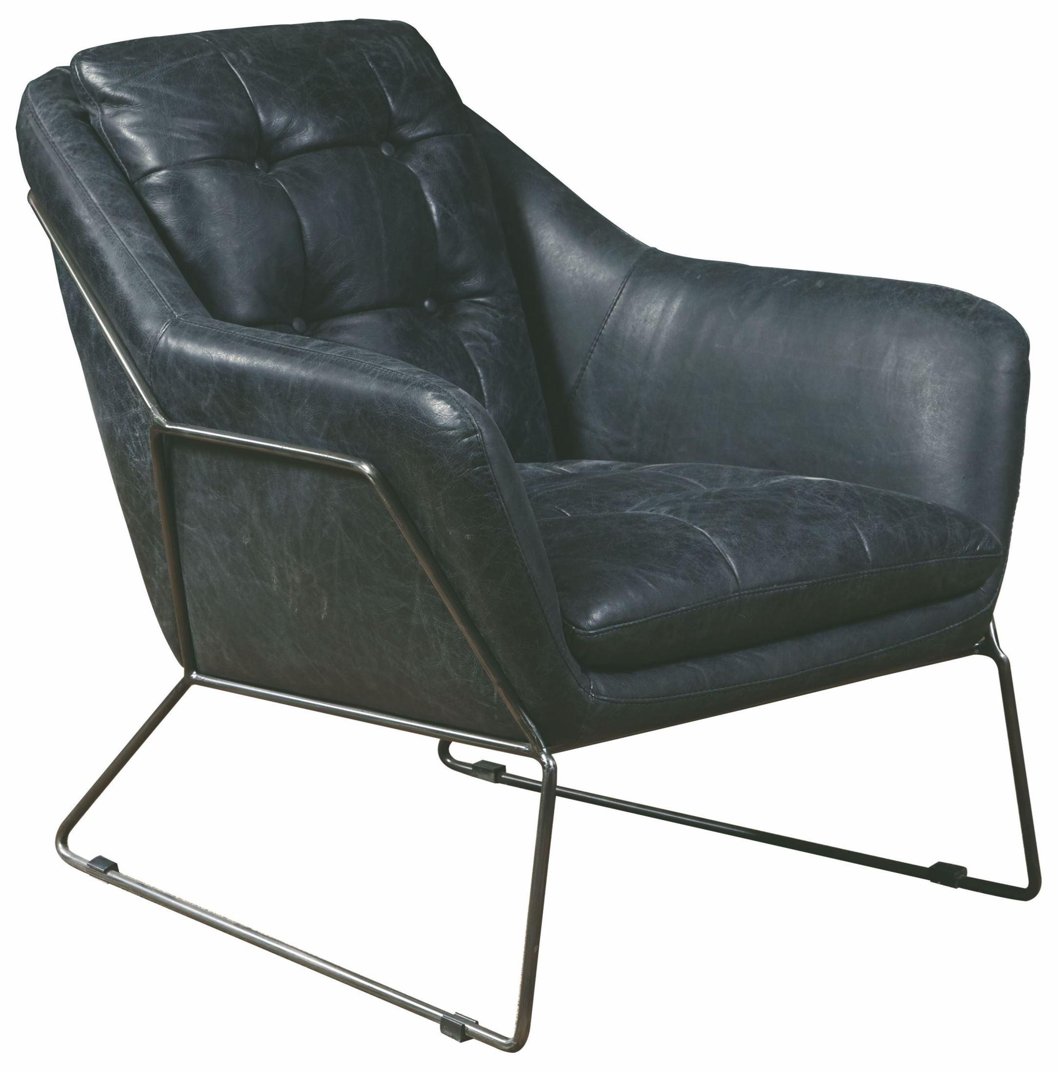 Marina Black Leather Accent Chair P006202 Pulaski