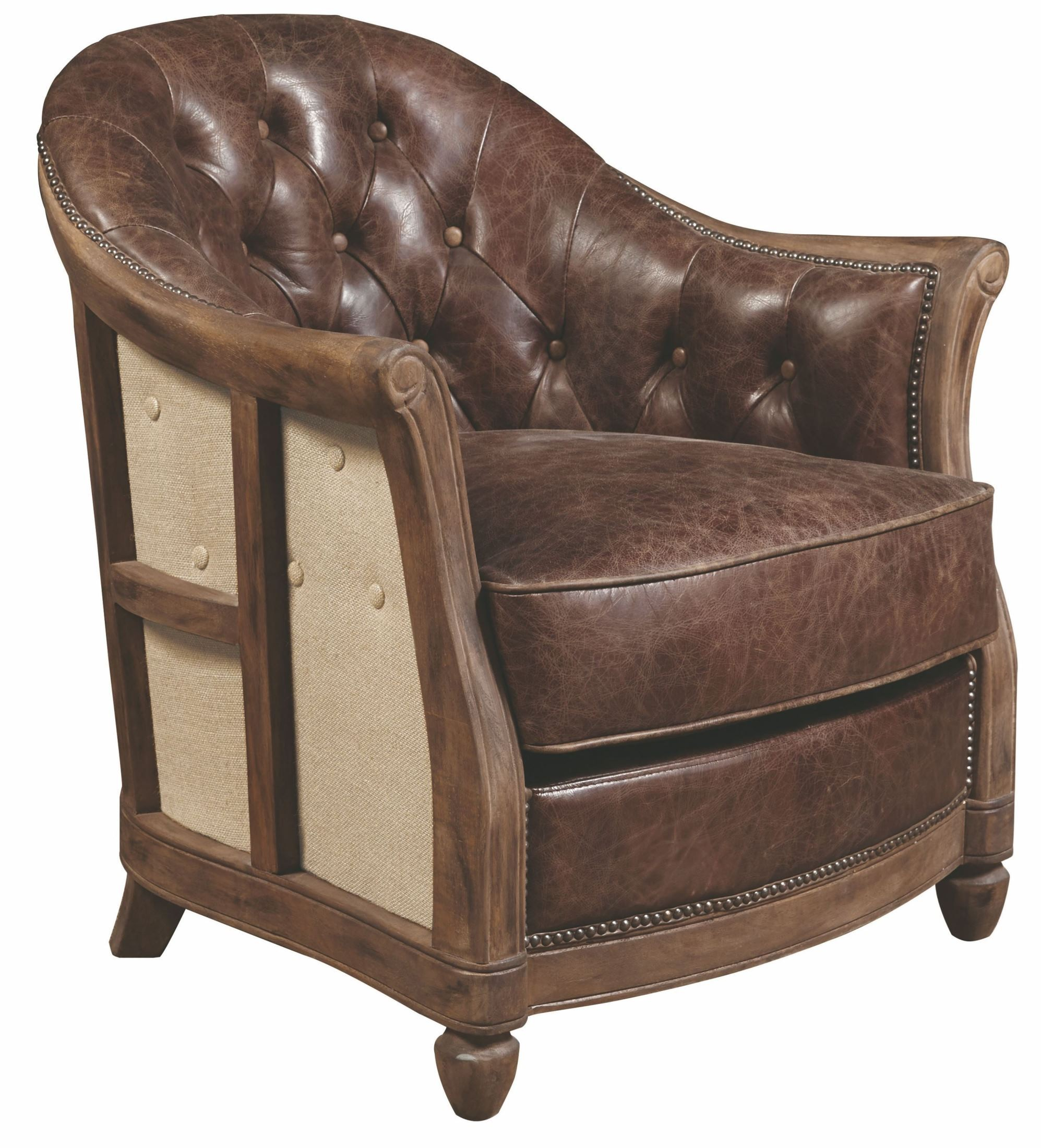 Brown Accent Chairs Andrew Brown Leather Accent Chair P006205 Pulaski