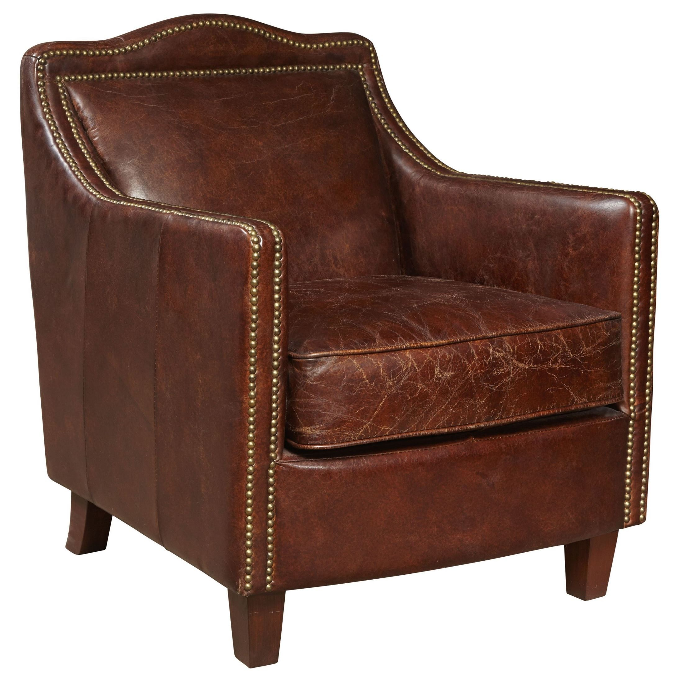 Danielle Brown Leather Accent Chair, P006301, Pulaski