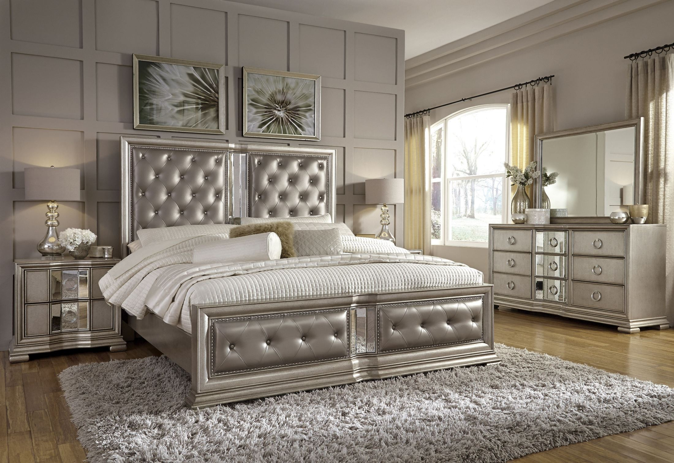 Couture Silver Panel Bedroom Set from Pulaski  Coleman Furniture
