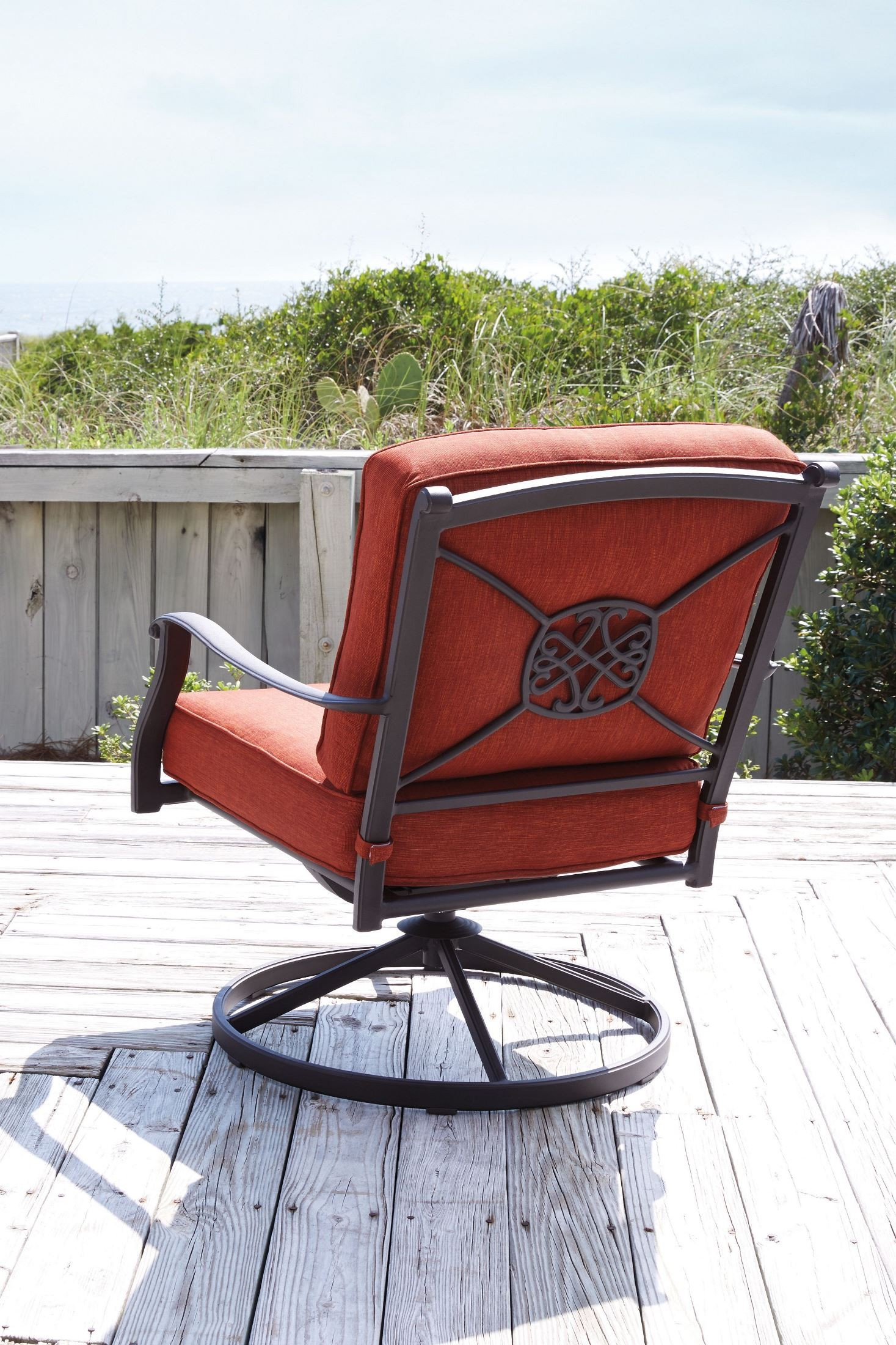 Orange Lounge Chair Burnella Orange And Brown Swivel Lounge Chair Set Of 2