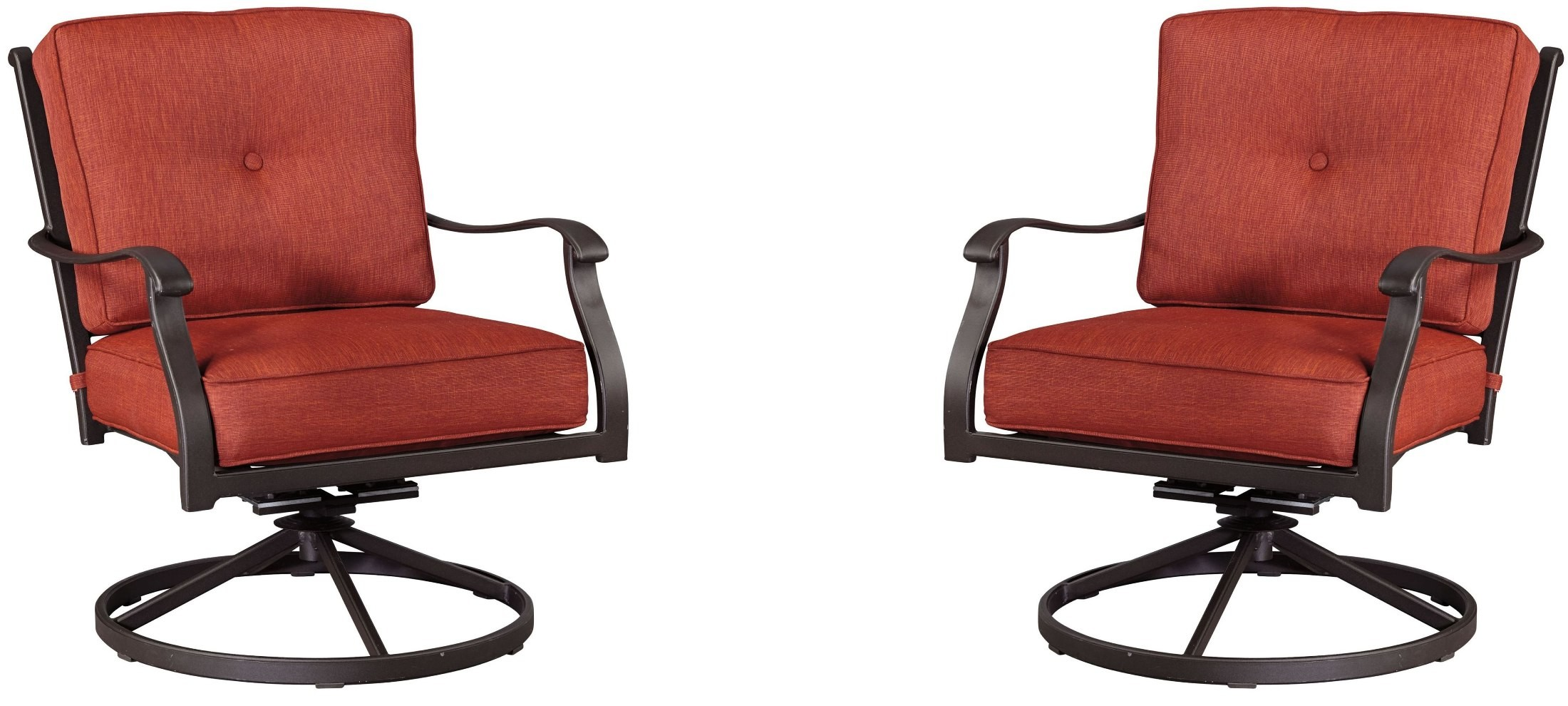 Orange Lounge Chair Burnella Orange And Brown Outdoor Swivel Lounge Chair Set