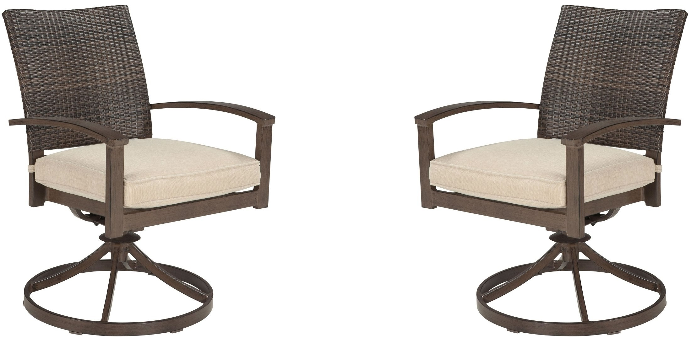 swivel chair brown kampa accessories moresdale outdoor set of 2 from ashley