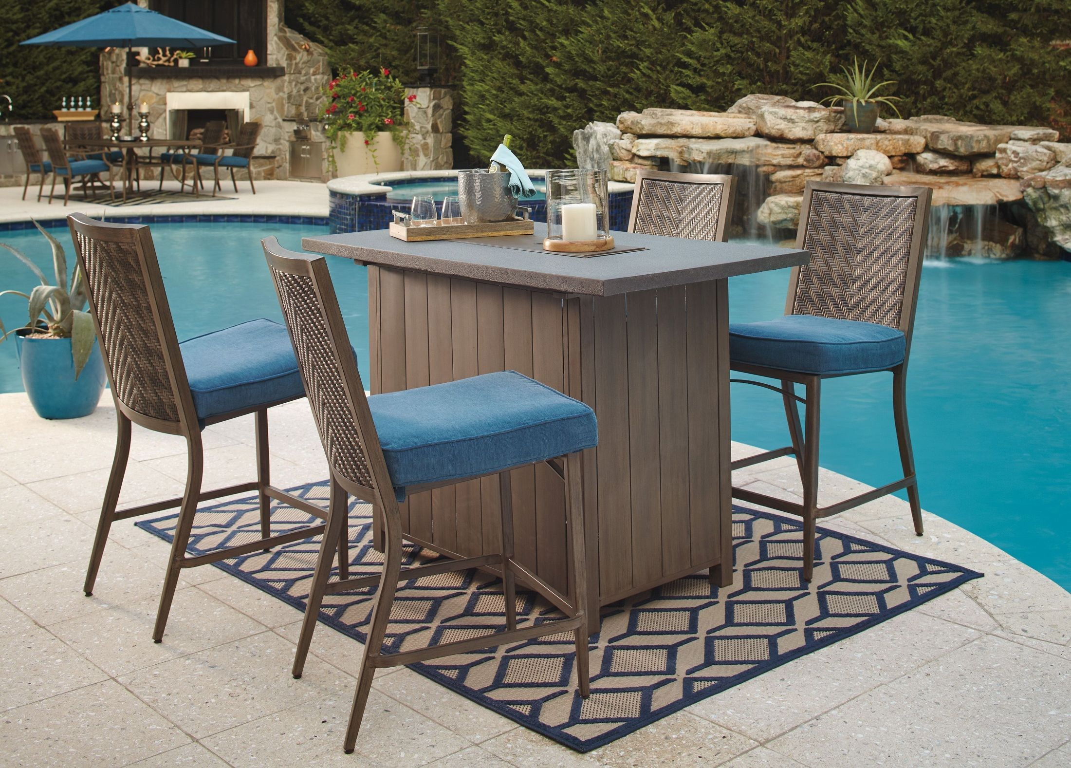 Partanna Blue and Beige Outdoor Bar Table from Ashley