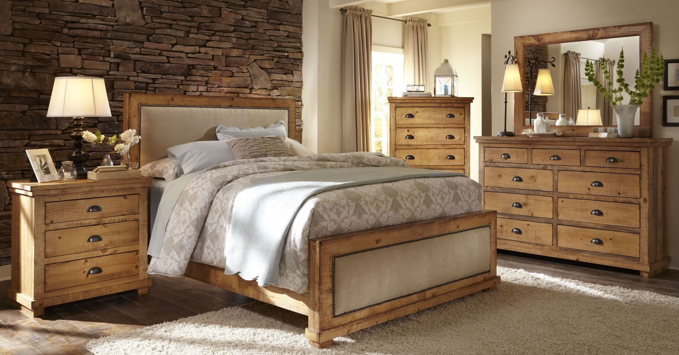 Willow Distressed Pine Upholstered Bedroom Set from