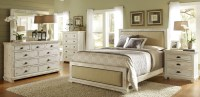 Willow Distressed White Upholstered Bedroom Set, P610-34 ...